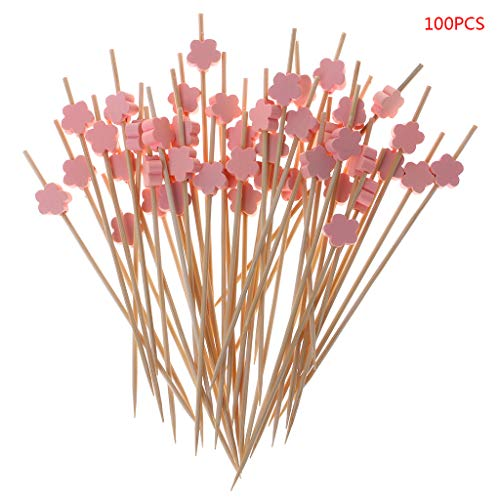Mimgo 100pcs 12cm Plum Blossom Food Picks Dessert Buffet Fruit Salad Fork Cake Muffin Party Vegetable Sticks Cocktail Toothpick -