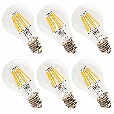 Vintage LED Filament Bulb 6W (60W Equivalent), Classic Edison A19/A60 LED Light Bulbs, E26 Medium Base Lamp, 2700K Warm White, 600 Lumens, Non-Dimmable, Pack of 6
