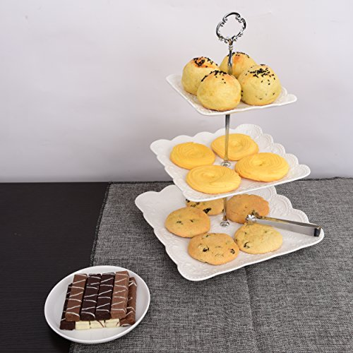 3 Tier Square Porcelain Cake Stand with Sugar Tongs - Party Food Server Display Set - Three Tier Dessert Stand - Perfect for your Tea Party, Baby Shower and Dessert Table - (White) by Ultimate Hostess (Image #2)