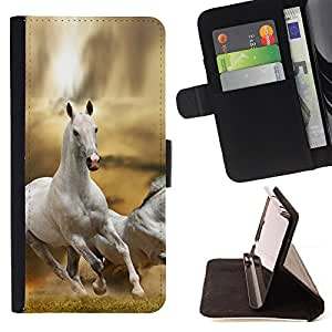 DEVIL CASE - FOR Apple Iphone 5 / 5S - Horse White Wild Free Running Field Desert - Style PU Leather Case Wallet Flip Stand Flap Closure Cover