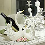 Creative home TV cabinet home decoration the living room wine cabinets accessories swans wedding wine rack ornaments-A