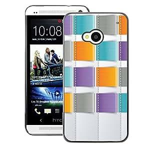 A-type Arte & diseño plástico duro Fundas Cover Cubre Hard Case Cover para HTC One M7 (Teal Orange Purple Sewing)