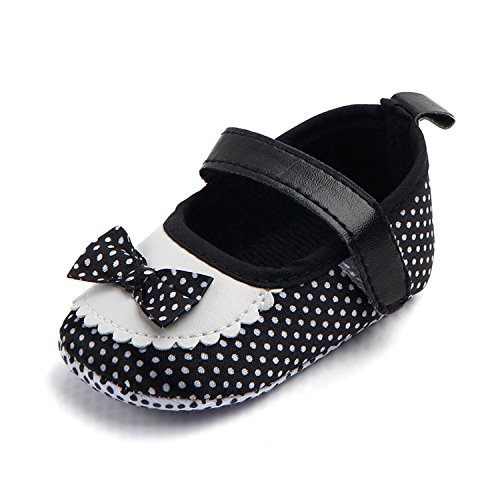 M2cbridge Baby Girl's Bow Dress Shoe Infant Toddler Pre-walker Crib Shoe (0-6 Months, Polka Dot) - Image 1