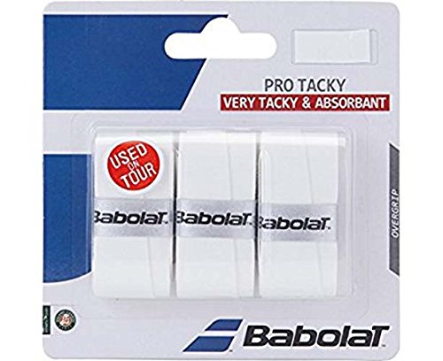 Babolat Pro Tacky Tennis Racquet Overgrip 3 Pack - White