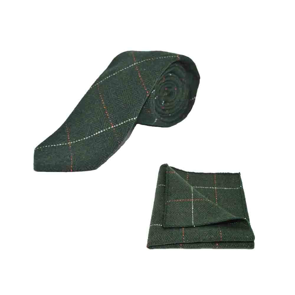 Luxury Herringbone Forest Green Tweed Mens Tie /& Pocket Square Set