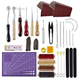 Leather Repair Purse Kit MIUSIE 34 PCS Leather Working Supplies,Leather Making Tool Kit with Awl,Waxed Thread,Leather Skin, Wool Dauber,Leather Kits for Beginner