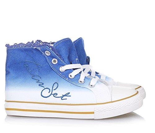 TWIN-SET - Sneaker à lacets bleue et blanche en tissu, originale et à la mode, avec fermeture éclair latérale, Fille, Filles, Femme, Femmes