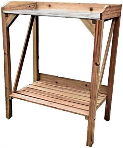 Macetero mesa, madera marrón, con placa de metal de trabajo de ...
