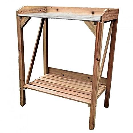 Macetero mesa, madera marrón, con placa de metal de trabajo ...