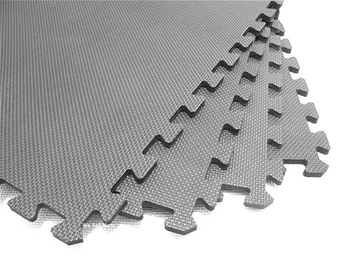We Sell Mats 36 Tiles Borders Anti-Fatigue Interlocking EVA Foam Exercise, 2' x 3/8'', Light Gray by We Sell Mats
