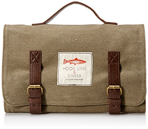 Hook Line and Sinker Washbag Waxed Canvas, Tan Wash Canvas Bag