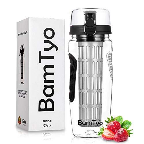 BamTyo Fruit Infuser Water Bottle 32 OZ with New Full Length Infusion Basket,BPA Free,Leak Proof Design,Larger Dual Hand Grips,Flip Lid