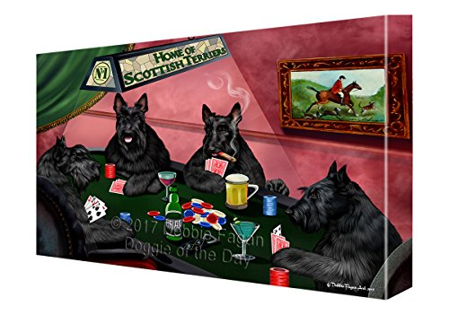 Home of Scottish Terriers 4 Dogs Playing Poker Canvas Wall Art (11x14) (Dog Terrier Scottish Art)