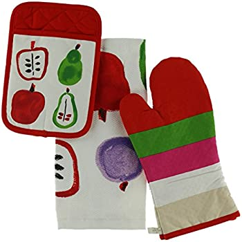 Kate Spade New York 3pc Kitchen Set - Oven Mitt, Pot Holder & Kitchen Towel, Bella Fruit