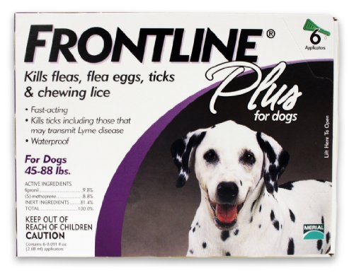 Merial Frontline Plus Flea and Tick Control for  45 to 88-Pound Dogs 6 Applicators