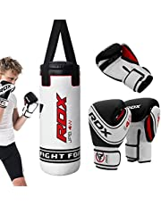 RDX Kids Punching Bag UNFILLED Set Junior Kick Boxing Heavy MMA Training Youth Gloves Punch Mitts Muay Thai Martial Arts 2FT