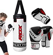 RDX Kids Punching Bag UNFILLED Set Junior Kick Boxing Heavy MMA Training Youth Gloves Punch Mitts Muay Thai Ma