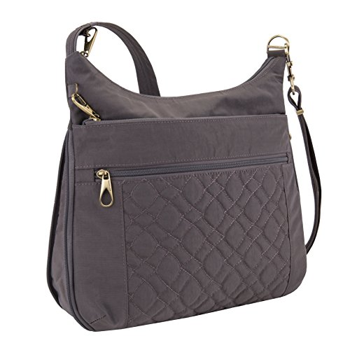 Travelon Anti-theft Signature Quilted Expansion Cross Body Bag, Smoke by Travelon