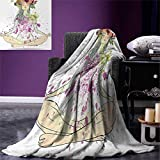 Anniutwo Yoga Throw Blanket Girl Floral Wreath Sitting in Lotus Pose Color Splashes Levitation Meditation Warm Microfiber All Season Blanket Bed Couch 50''x30'' Multicolor