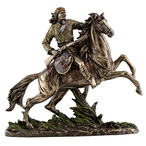 - Top Collection Geronimo Going to Battle Statue -Decorative Native American Warrior on Horse Sculpture in Premium Cold Cast Bronze - 11-Inch Collectible Indigenous Indian Figurine