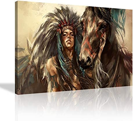 KALAWA Retro Native American Girl Feathered Women