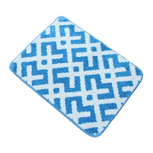O'Family 2 Piece Microfiber Chevron Non-Slip Soft Kitchen Mat Bath Rug Doormat Runner Capet Set,18'' x 24''+18'' x 47'',Blue