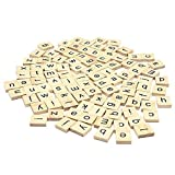 Set Of 500 + 100 Free Wooden Scrabble Tiles Letters With 1 Rack Holder Set For Board Games, Wall Decor & Arts And Crafts