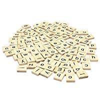 Trimming Shop Set Of 400 Wooden Scrabble Tiles Letters With 1 Rack Holder Set For Board Games  Wall Decor & Arts And Craftsの商品画像