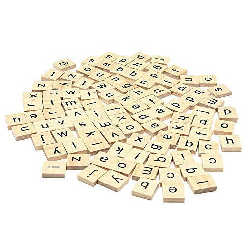 Set Of 200 Wooden Scrabble Tiles Letters With 1 Rack Holder Set For Board Games, Wall Decor & Arts And Crafts by Trimming Shop