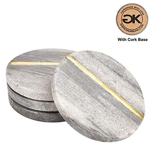 GAURI KOHLI Beautiful Ocean Gray Round Marble Coasters With Cork Bottom; Embellished With Gold Inlay (Large Size | Set of 4) ()