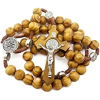 Saint Benedict Brown Wood Beads Christian Rosary Necklace ST 19 NR Medal and Cross Crucifix