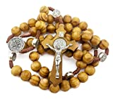 Saint St. Benedict Wooden Beads Catholic Knot Rosary Necklace 19'' NR Medal Jesus Cross