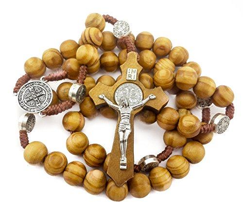 Nazareth Store Wood Beads Rosary Necklace Saint Benedict Medal & Catholic Cross Religious Prayer Chaplet String Handmade - Velvet ()