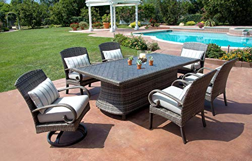 Garden and Outdoor Pacific Casual Captiva Isle Modern Patio Dining Set with Swivel Dining Chairs & 85-inch Aluminum Dining Table patio dining sets