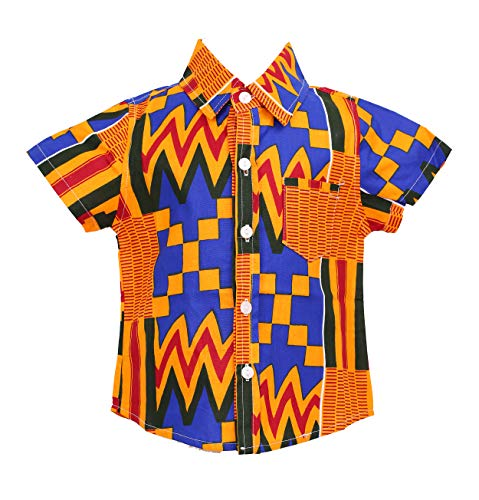 Little Boys Shirt, Ankara Print, Handmade, African Print Clothes, Short Sleeve Shirt, Party Shirt, Toddler Shirt (A, XXL)