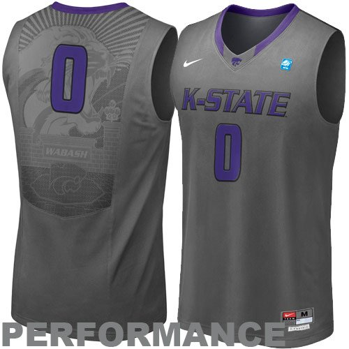 Nike Kansas State Wildcats Aerographic Tackle Twill Basketball Performance Jersey - Charcoal ()