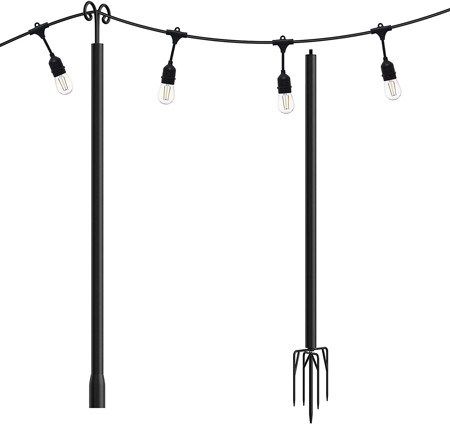 addlon String Lights Poles for Outdoors (1 x 10ft), Heavy Duty Designed to Use Year-Round for Your Garden, Patio, Wedding, Party, Birthday Decorations.