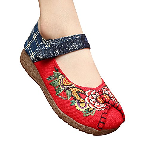 MISSMAO Vintage Chinese Style Women Embroidered Shoes Mary Jane Flat Ballet Cotton Loafer Red U7n17iWARq