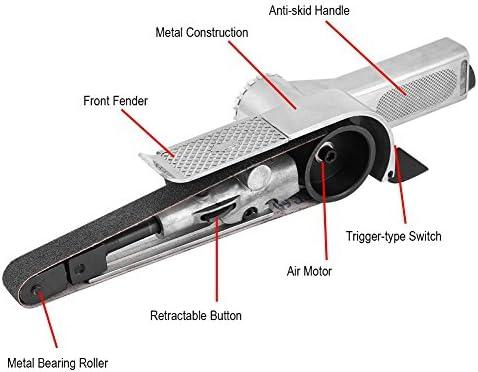 Air Belt Sander, Durable Air Belt Sander Tool With 3pcs Grit Belts Belt Sander Grinding, Pneumatic Air Belt Sander for Wood-working, Furniture-polishing