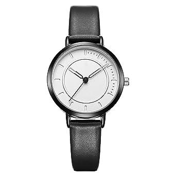 ZXMBIAO Moda Mujer Hombre Cuero Relojes Mujer Reloj De Cuarzo ...