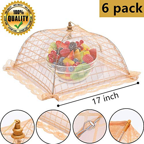 Picnic Food Covers (suggee 6 pack Large and Tall 17x17 Pop-Up Mesh Food Covers Tent Umbrella for)