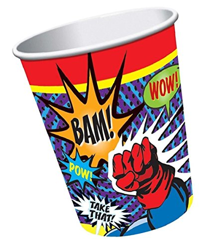 Durable & Non-Toxic {9 Ounce} 8 Count of Recyclable Mid-Size Disposable Cups, Made of Paper w/ Plain Solid Opaque Classic Simple Superhero Wham Bam Pow Style {Black, Green, & White}