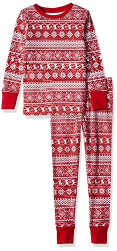 Amazon Essentials Little Kids' 2-Piece Pajama Set, Red Fair Isle, XS