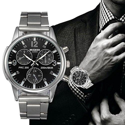 FAPIZI Clearance✿{Crystal Watch}Mens Luxury/Fashion/Stainless Steel Analog/Quartz Wrist Watch (Black)
