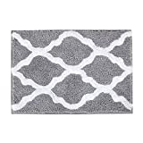 Pauwer Microfiber Bathroom Rugs Geometric, Non Slip Bath Rugs Floor Mat Machine Washable (18×26', Grey)
