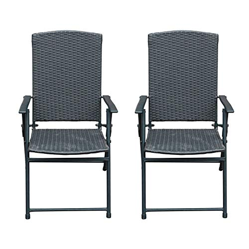 Sunlife 2 PCS Patio Folding Rattan Chairs Outdoor Indoor Portable Wicker Chair with Armrest Footrest, Foldable Stackable Party Wedding Dining Chair Set