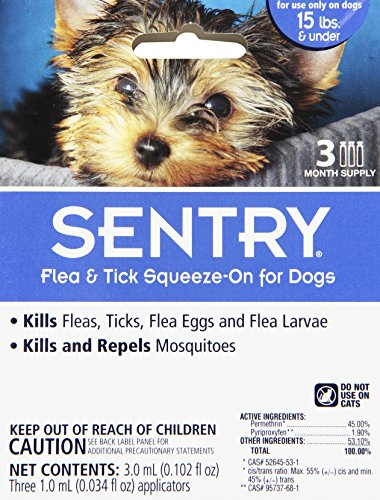 Sergeants Pet Care - Sergeants Pet Care Prod 3 Count Sentry Flea and Tick Squeeze-On Dog Drop, Upto 15 lb.