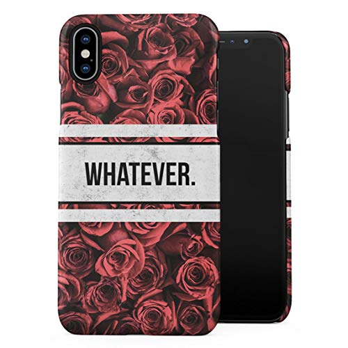 (Whatever Crimson Red Roses Wonderful Blossom Flora Pattern Plastic Phone Snap On Back Case Cover Shell Compatible with iPhone Xs Max)