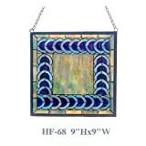 HF-68 9'' Tiffany Style Stained Glass Simple Geometry Square Window Round Hanging Sun Catcher