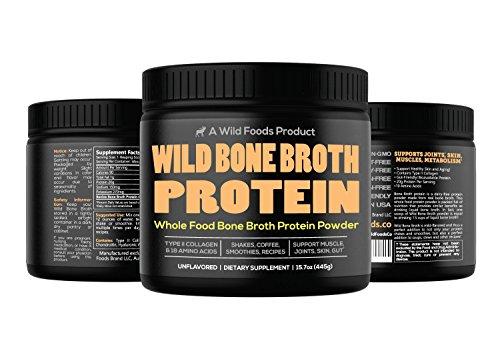 Bone Broth Protein Powder by Wild Foods | Non-GMO, Paleo, All-Natural, Unflavored, Grass-Fed Bovine Sourced (1 pound)